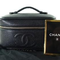 Authentic Chanel Black Caviar Skin Leather Vanity Cosmetic Pouch Bag Cb5645l Photo