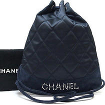 Authentic Chanel Black Color Navy Color Satin & Suede Back Pack Style Bag Purse Photo
