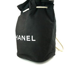 Authentic Chanel Black Cotton Canvas Drawstring Backpack Bag Cs1597l Photo