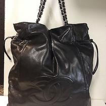 Authentic Chanel Black Drawstring Style Black Bag Photo