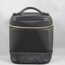 Authentic Chanel Black Lambskin Cosmetic Vanity Pouch Very Good Photo