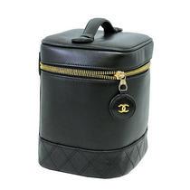 Authentic Chanel Black Lambskin Leather Vanity Bag 29210
