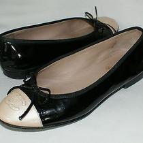 Authentic Chanel Black Light Pink Patent Leather Bow Ballet Flats Shoes Size 37 Photo