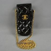 Authentic Chanel Black Patent Leather Cell Phone Case Fair Condition Photo