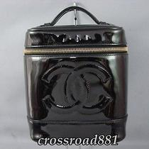 Authentic Chanel  Black Patent Leather Cosmetic Vanity Pouch Great Photo