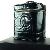 Authentic Chanel Black Patent Leather Vanity Cosmetic Pouch Bag Cb3818l Photo