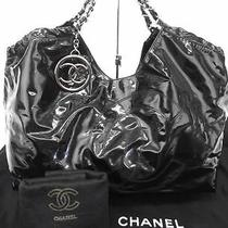 Authentic Chanel Black Patent Vinyl Coco Cabas Xl Bag Photo
