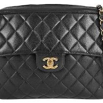 Authentic Chanel Black Quilted Caviar Leather Coco Camera Shoulder Bag Purse Photo