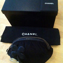 Authentic Chanel Black Satin Clover Evening Bag Photo