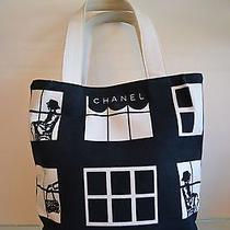 Authentic Chanel Black White Fabric Tote Coco Chanel Images Rare Classic Photo