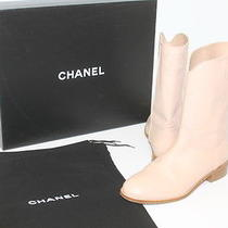 Authentic Chanel Blush Leather Cowboy Boot Sz 41.5 Photo