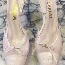 Authentic Chanel Blush Mesh With Leather Toe Cap Heels Pumps Sz 40/us 10 Photo