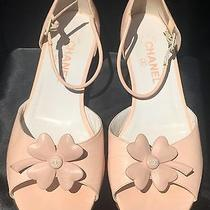 Authentic Chanel Blush Pink Clover Logo Flats Sandals 39 Ankle Strap Flat Photo