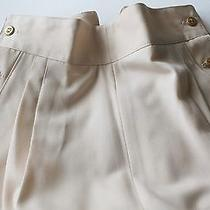 Authentic Chanel Boutique Cream Wool Pants 6 Gold Clover Buttons Size 42 Photo
