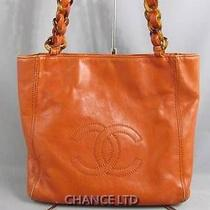 Authentic Chanel Brick Orange Lambskin Small Hand Bag Very Good Photo