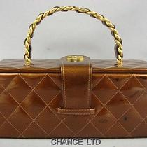 Authentic Chanel Bronze Patent Leather Cosmetic Vanity Box Great Photo