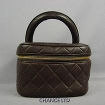 Authentic Chanel Brown Lambskin Cosmetic Vanity Pouch Very Good Photo