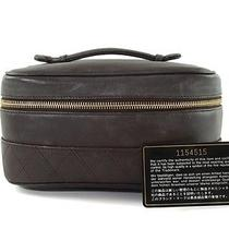 Authentic Chanel Browns Leather Cosmetic Pouch Vanity Bag Cb6209l Photo
