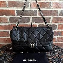 Authentic Chanel Calfskin Quilted Retro Chain Flap Photo