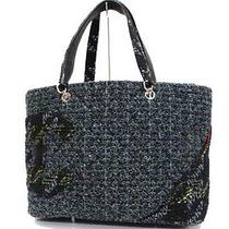 Authentic Chanel Cambon Line Tweed Tote Bag Blue X Black Based  Photo