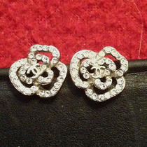 Authentic Chanel Camellia Crystal Pierced Earrings Logo Cc Photo