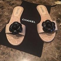 Authentic  Chanel Camilla Beige Calf Leather With Black Camilla  Sandals Size 39 Photo