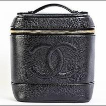 Authentic Chanel Caviar Skin Vanity Black Leather Cosmetic Pouch Bg397 Photo