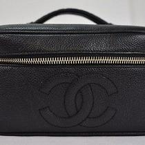 Authentic Chanel Caviar Skin Vanity Black Pouch Leather 7310 Photo