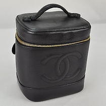 Authentic Chanel Caviar Skin Vanity Black Pouch Leather 8376 Photo