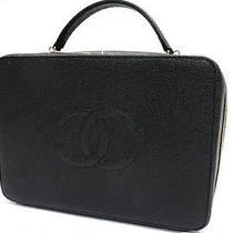 Authentic Chanel Caviarskin Leather Vanity Bag Hand Bag Make-Up Box Black  Photo