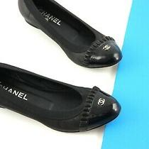 Authentic Chanel Cc Black Ballet Patent Cap Toe Leather Round Toe Flats Shoes 37 Photo