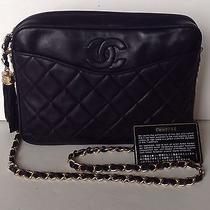 Authentic Chanel Cc Black Vintage Tassel Lambskin Camera Bag Handbag Photo
