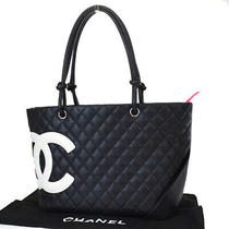 Authentic Chanel Cc Logo Cambon Tote Shoulder Bag Leather Black Italy 669r350 Photo