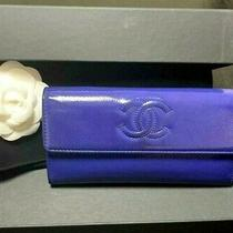 Authentic Chanel Cc Logo Caviar Skin Long Wallet Blue Patent Leather Purse Photo