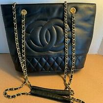 Authentic Chanel Cc Logo Chain Tote Shoulder Bag Leather Black Vintage  Photo