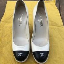 Authentic Chanel Cc Logo Espadrille Wedges Size 385 Black & White Pumps Shoes Photo