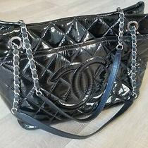 Authentic Chanel Cc Logo Quilted Black Patent Leather Chain Tote Bag Purse  Photo