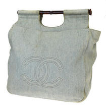 Authentic Chanel Cc Logo Tote Hand Bag Denim Canvas Blue Mede in Italy 70bp243 Photo