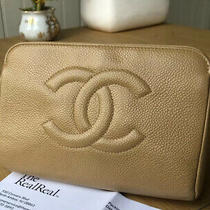 Authentic Chanel Cc Timeless Cosmetic Vanity Pouch Clutch Bag Beige Caviar Photo
