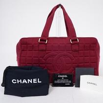 Authentic Chanel Chocolate Bar Wine-Red Cotton Handbag A19271 Photo