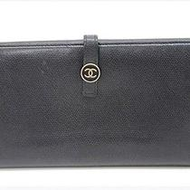 Authentic Chanel Coco Button New Calfskin Leather Double Snap Long Wallet Black Photo
