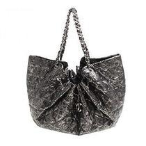 Authentic Chanel Coco Cabas Xl Quilting Nylon Silver Shoulder Bag Photo