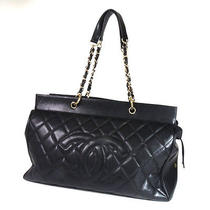 Authentic Chanel  Coco Mark Boston Bag Caviar Skin Photo