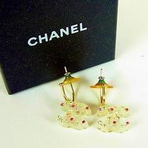 Authentic Chanel Coco Mark Rhinestone Pierce Earring From Japan Photo