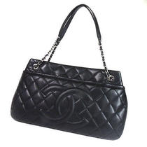 Authentic Chanel  Coco Mark Shoulder Bag Caviar Skin Photo