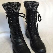 Authentic Chanel Combat Boots Knitted Tweed Detail Size 36.5 Photo