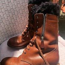 Authentic Chanel Combat Cc Logo Cap Toe Brown Boots Photo