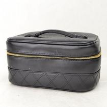 Authentic  Chanel Cosmetic Pouch Vanity Made in Italy Black  24074 Photo
