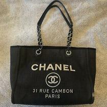 Authentic Chanel Denim Deauville Tote Dark Blue Bag  Photo