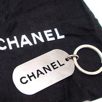 Authentic Chanel Dog Tag Key Chain Ring Fob Pendant Silver Metal Vintage Rare Photo